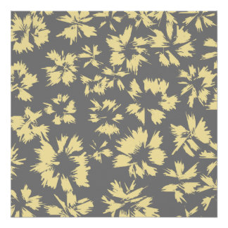 Gray and yellow floral pattern. poster
