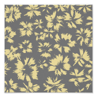 Gray and yellow floral pattern. print