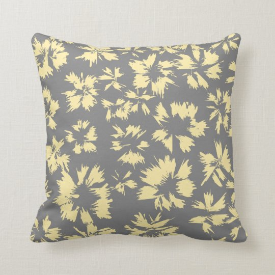 Gray and yellow floral pattern. throw pillow