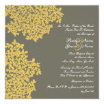 """Gray and Yellow Floral Square Wedding 5.25"""" Square Invitation Card"""
