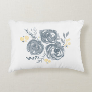 Gray and Yellow Floral Watercolor Print Decorative Pillow