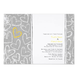 Gray and Yellow Grunge Hearts Wedding Invitations