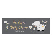 Gray and Yellow Heart Lamb Baby Shower Poster