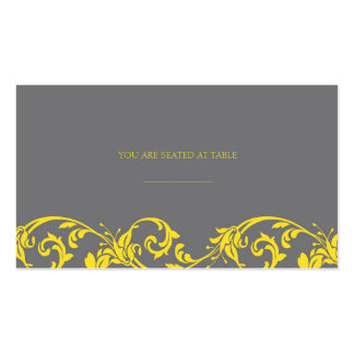 Gray and Yellow Lace Wedding Placecards Double-Sided Standard Business Cards (Pack Of 100)