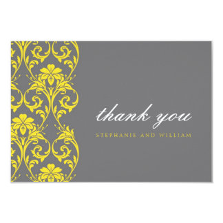 Gray and Yellow Lace Wedding Thank You Card