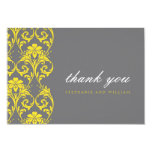 Gray and Yellow Lace Wedding Thank You Card Personalized Invitations
