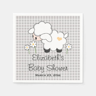 Gray and Yellow Lamb Gender Neutral Baby Shower Paper Napkin