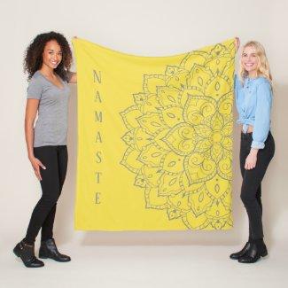 Gray and Yellow Mandala Fleece Blanket