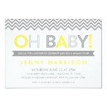 Gray and Yellow Modern Chevron Baby Shower 5x7 Paper Invitation Card