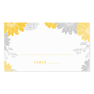 Gray and Yellow Modern Floral Wedding Escort Cards Double-Sided Standard Business Cards (Pack Of 100)