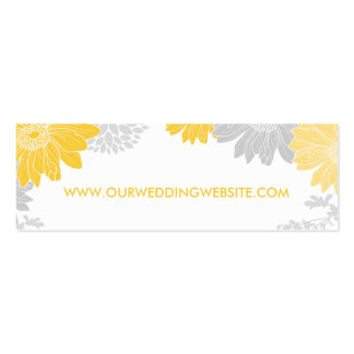 Gray and Yellow Modern Floral Wedding Insert Card Double-Sided Mini Business Cards (Pack Of 20)