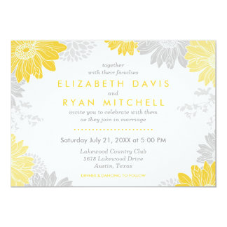 Gray and Yellow Modern Floral Wedding Invitation