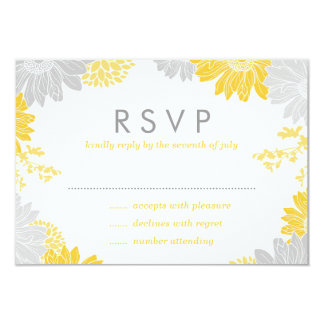 Gray and Yellow Modern Floral Wedding RSVP Card