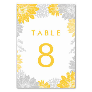 Gray and Yellow Modern Floral Wedding Table Number Table Cards