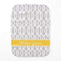 Gray and Yellow Modern Trellis Custom Monogram Burp Cloth