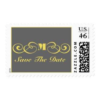 Gray and Yellow Monogram Wedding Save The Date stamp