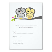 Gray and Yellow Owls Wedding Card
