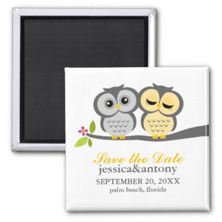 Gray and Yellow Owls Wedding Magnet