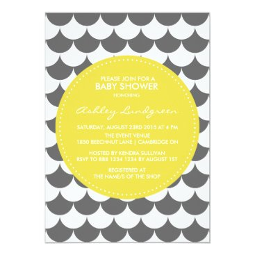 Beach Themed Gray and Yellow Pattern Baby Shower Invitation