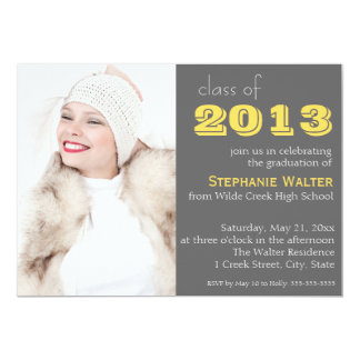 Gray and Yellow Photo Graduation Invitation