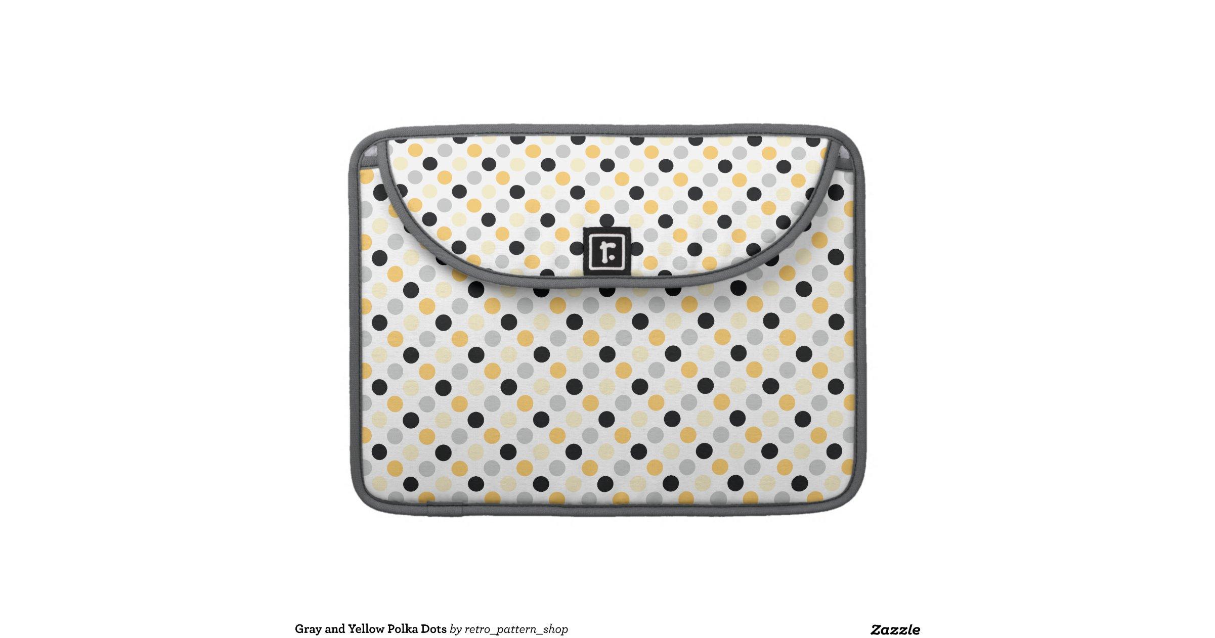 gray and yellow polka dots macbook pro sleeve    Yellow And Gray Polka Dots