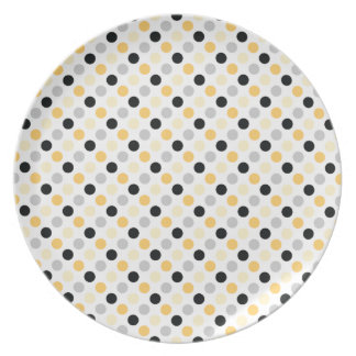 Gray and Yellow Polka Dots Dinner Plate