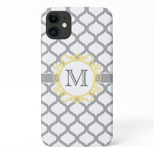 Gray and Yellow Quatrefoil Monogram iPhone 11 Case