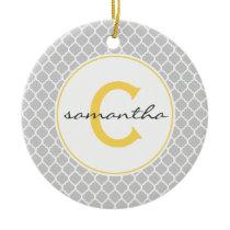 Gray and Yellow Quatrefoil Monogram Ceramic Ornament