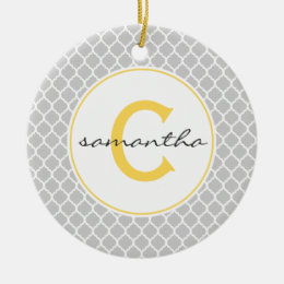 Gray and Yellow Quatrefoil Monogram Ceramic Ornament