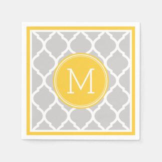 Gray and Yellow Quatrefoil Wedding Monogram Paper Napkin