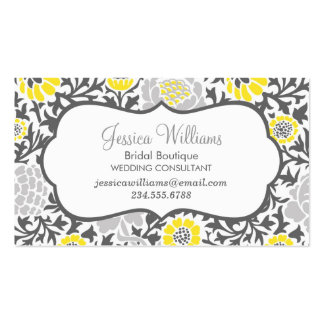 Gray and Yellow Retro Floral Damask Double-Sided Standard Business Cards (Pack Of 100)