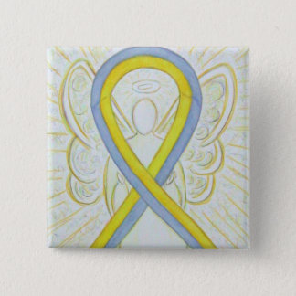 Gray and Yellow Ribbon Awareness Angel Pin