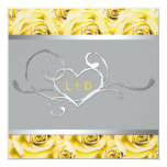 "Gray and Yellow Roses Couples Shower Invitation 5.25"" Square Invitation Card"