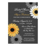 Gray and Yellow Slate and Flowers Bridal Shower Card