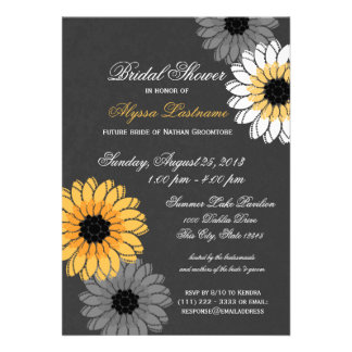 Gray and Yellow Slate and Flowers Bridal Shower Personalized Invites
