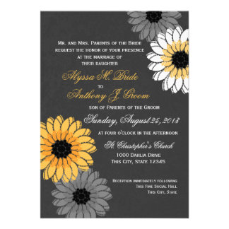 Gray and Yellow Slate and Flowers Wedding Personalized Announcement