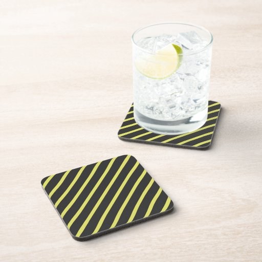Gray and Yellow Striped Coasters