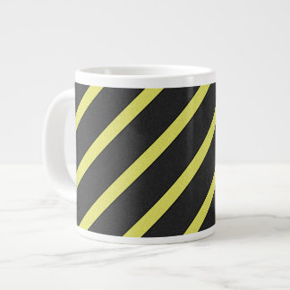 Gray and Yellow Striped Large Coffee Mug