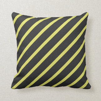 Gray and Yellow Striped Throw Pillow