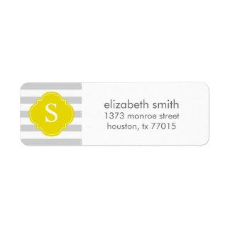 Gray and Yellow Stripes Monogram Return Address Label