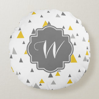 Gray And Yellow Triangles Modern Pattern Round Pillow