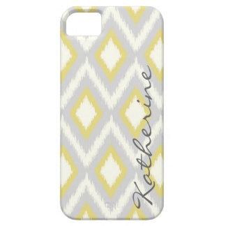 Gray and Yellow Tribal Ikat Chevron Monogram iPhone SE/5/5s Case