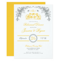 Gray and Yellow Vintage Bicycle Rehearsal Dinner Invitation
