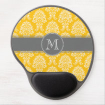 Gray and Yellow Vintage Damask Pattern Gel Mouse Pad