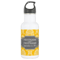 Gray and Yellow Vintage Damask Pattern Water Bottle
