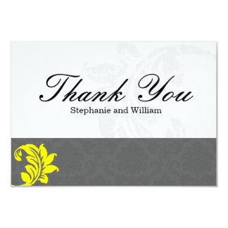 Gray and Yellow Wedding Thank You Card Custom Announcement