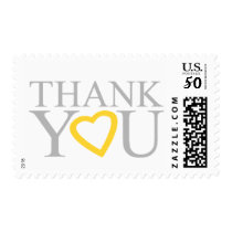 Gray And Yellow Wedding Thank You Stamps
