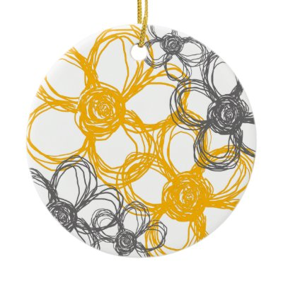 Gray and Yellow Wild Flowers Christmas Tree Ornament by TheBrideShop