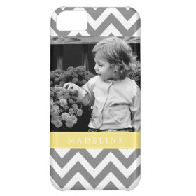 Gray and Yellow Zigzags Personalized Photo Cover For iPhone 5C