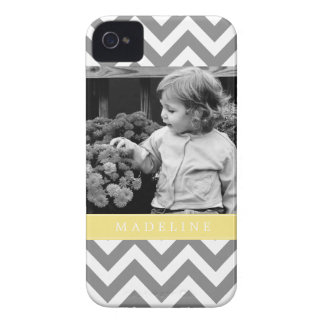 Gray and Yellow Zigzags Personalized Photo Case-Mate iPhone 4 Case